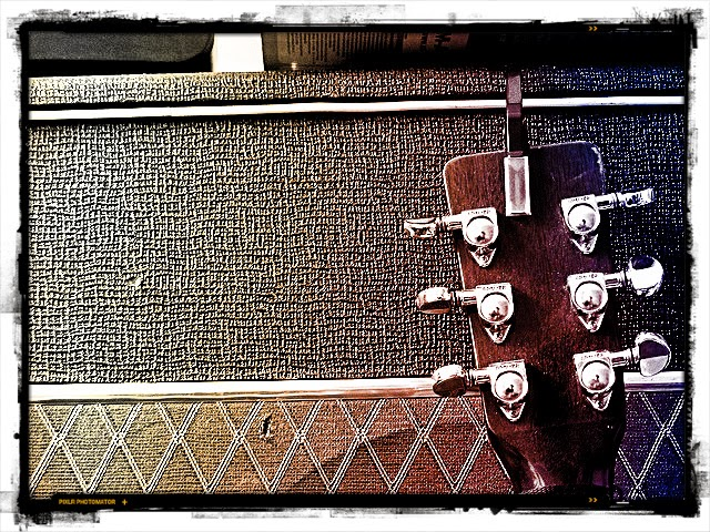 Acoustic Guitar Headstock and Amp Burnt Photo
