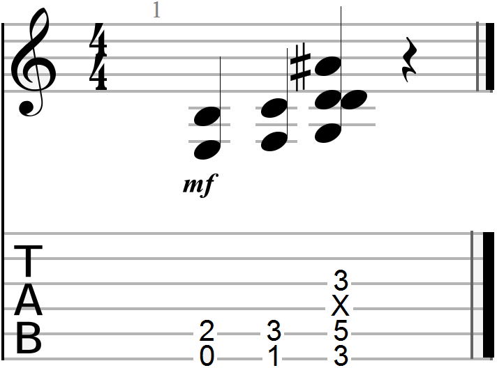 E to F to G Chord Progression