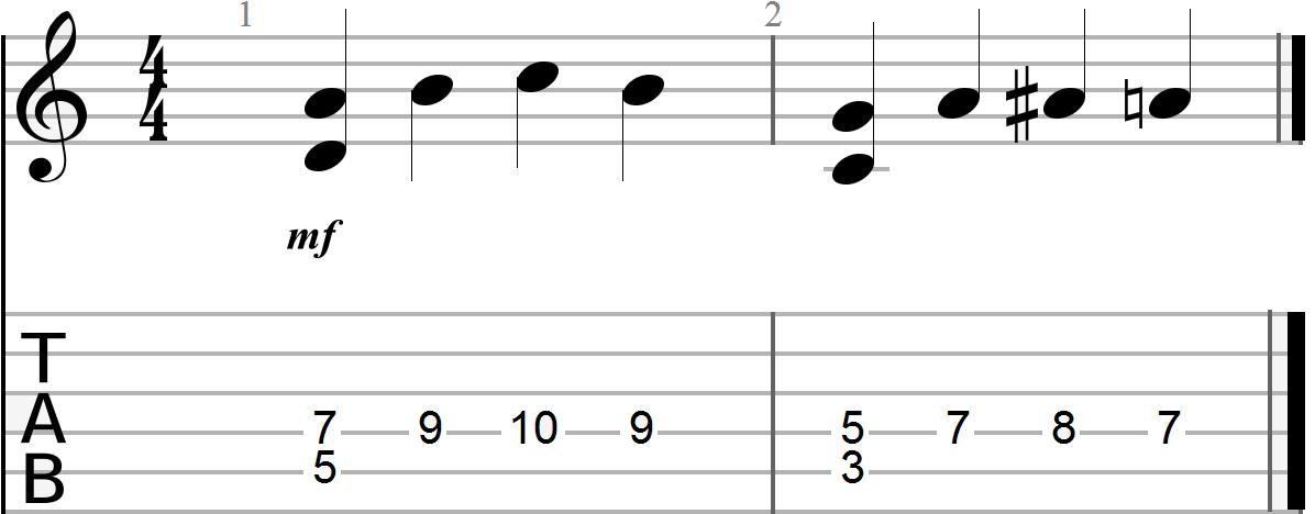 G, C and D 12 Bar Blues Chord Progression (melody line three)