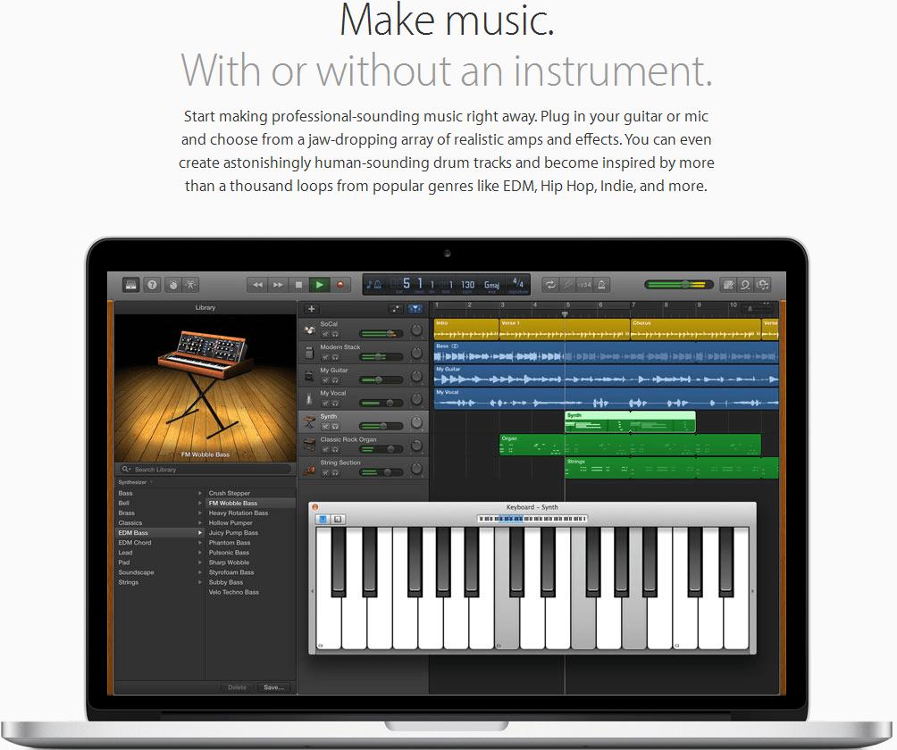 GarageBand Music Production Software Screenshot