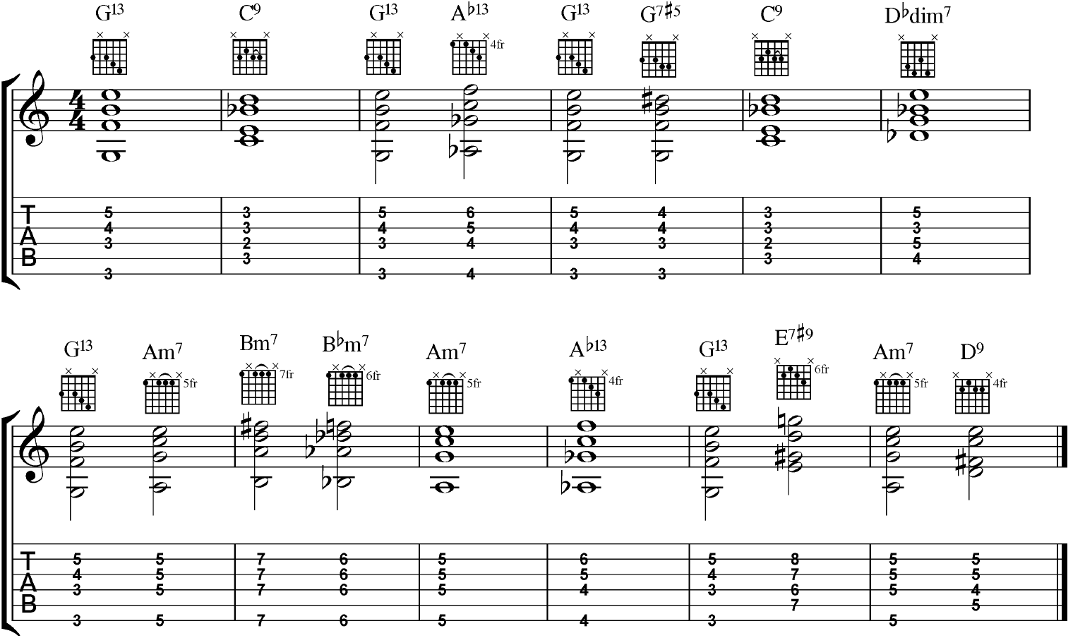 Blues Shell Voicing Example in G