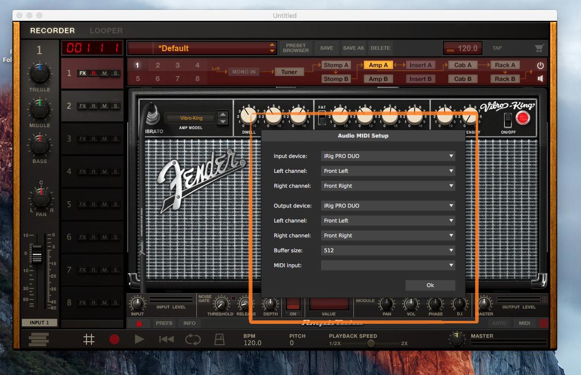 Fender Audio MIDI Setup Menu