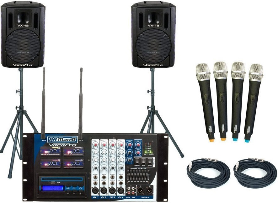 Wireless PA System with Four Mics and a Four Channel Mixer