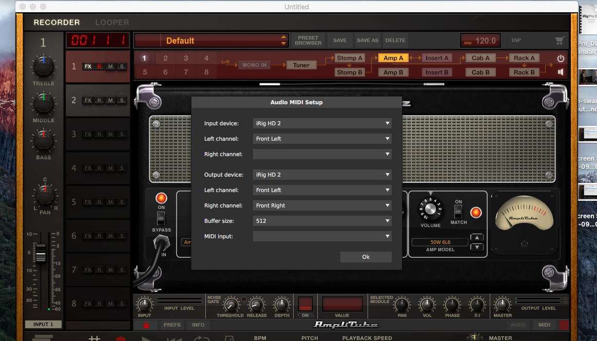 Amplitube 4 Audio MIDI Setup Menu Items