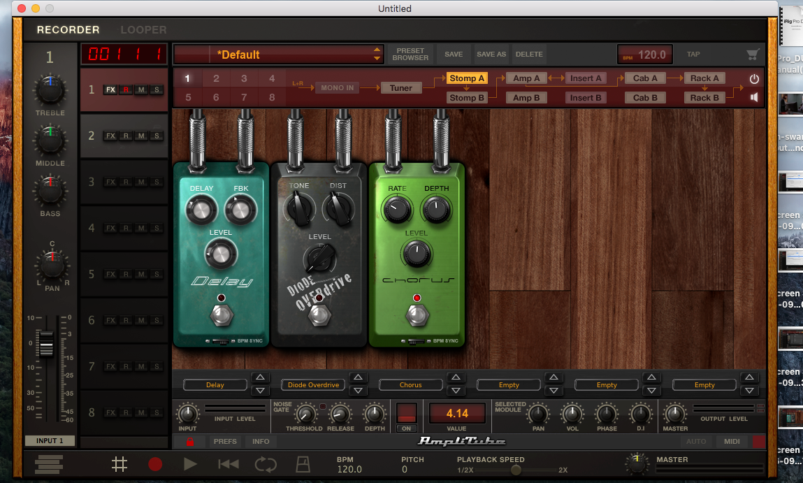 Amplitube 4 Pedalboard Screenshot