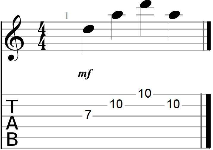 Arpeggiated D Major Chord Shape on the Seventh Fret