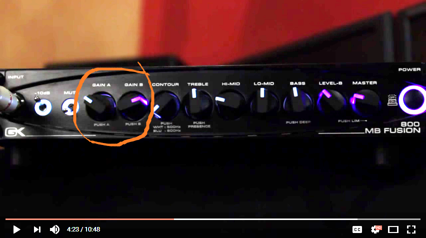 Gallien-Krueger Fusion MB 800 Gain A and B Channels