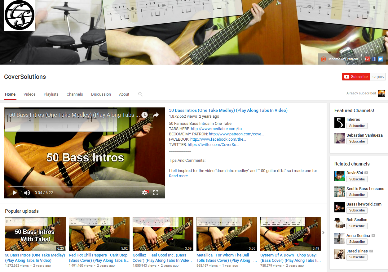 CoverSolutions Bass YouTube Channel Screenshot