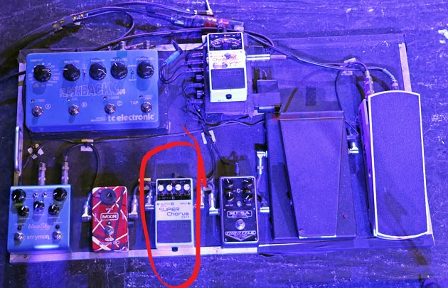 Dean Rolland's Pedalboard with a Boss CH-1 Super Chorus Pedal