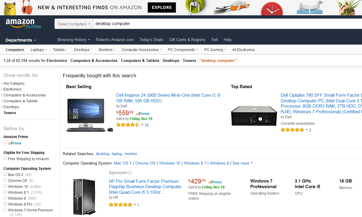 Desktop Computers on Amazon