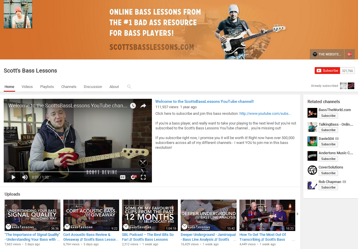 Scott's Bass Lessons YouTube Page Screenshot
