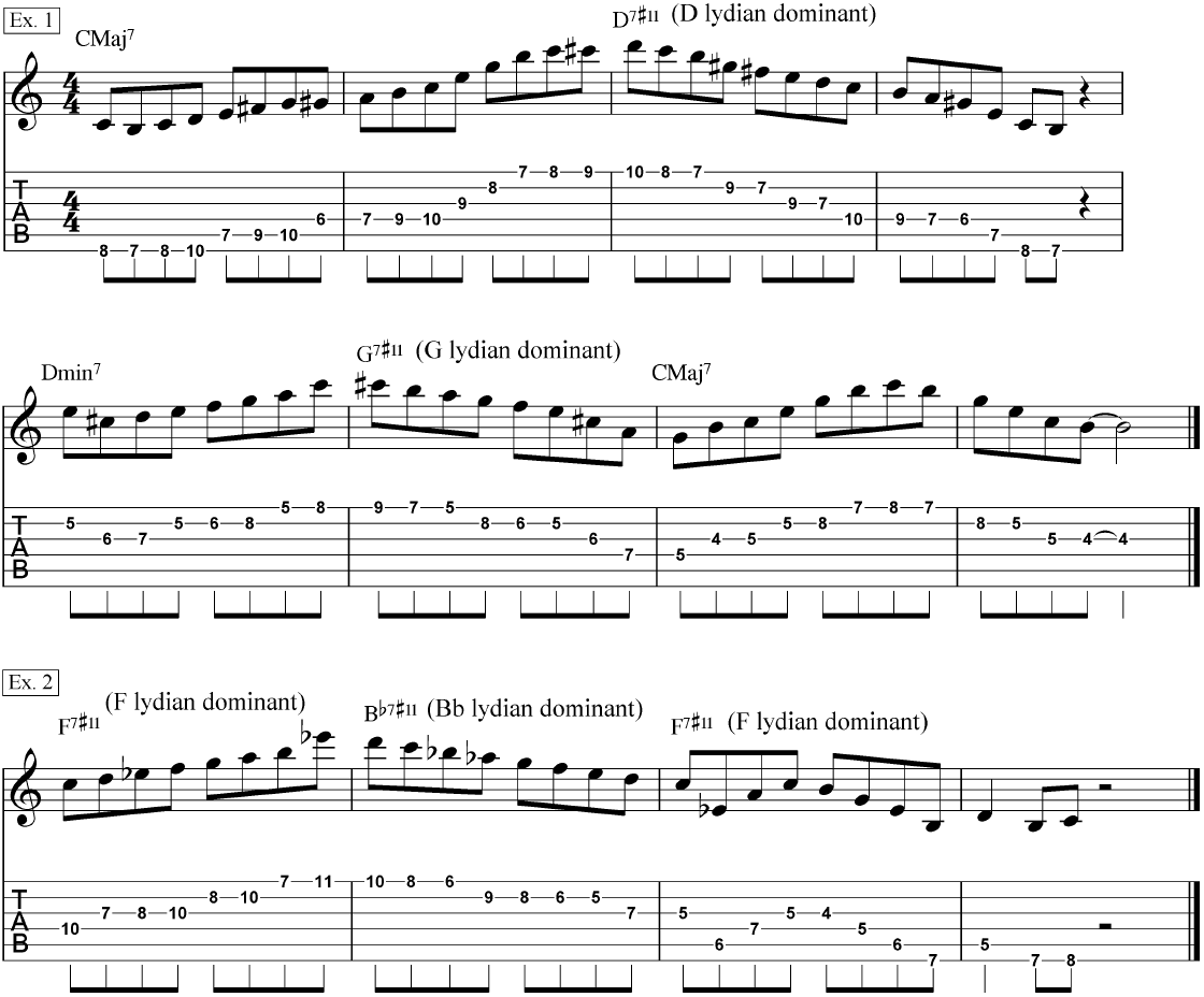 Jazz Lead Guitar Routines In The Lydian Dominant Mode Chalk How To Read A Chord Diagram Alliance Modes Used Common Progressions