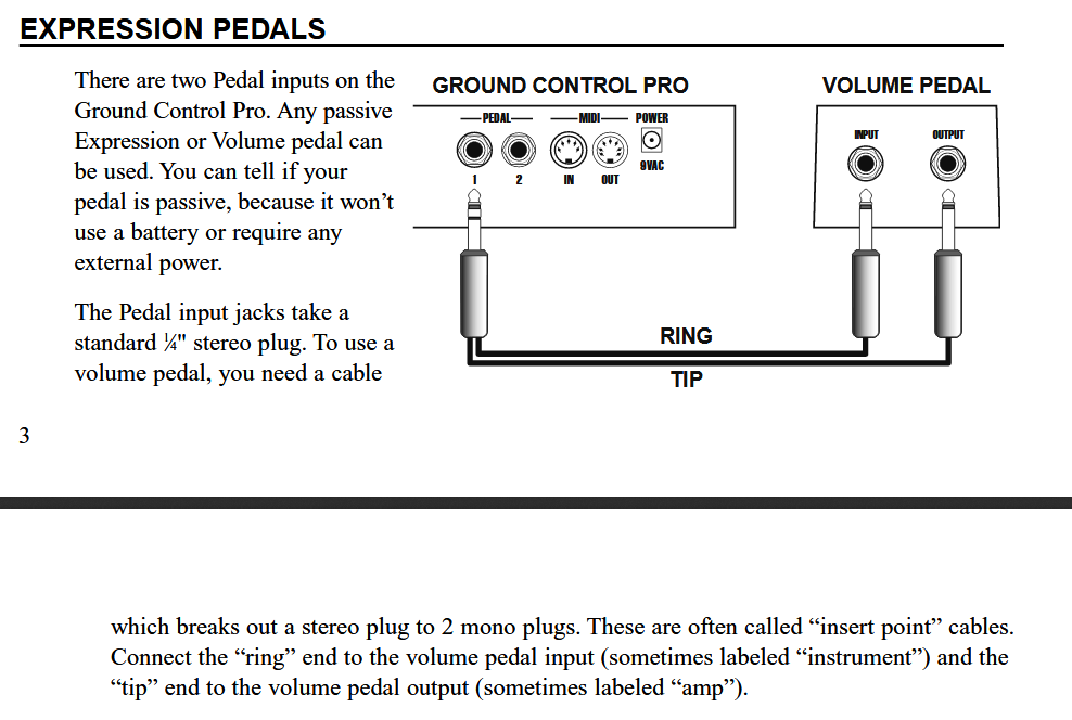 Expression Pedal for Voodoo Lab Ground Control Pro