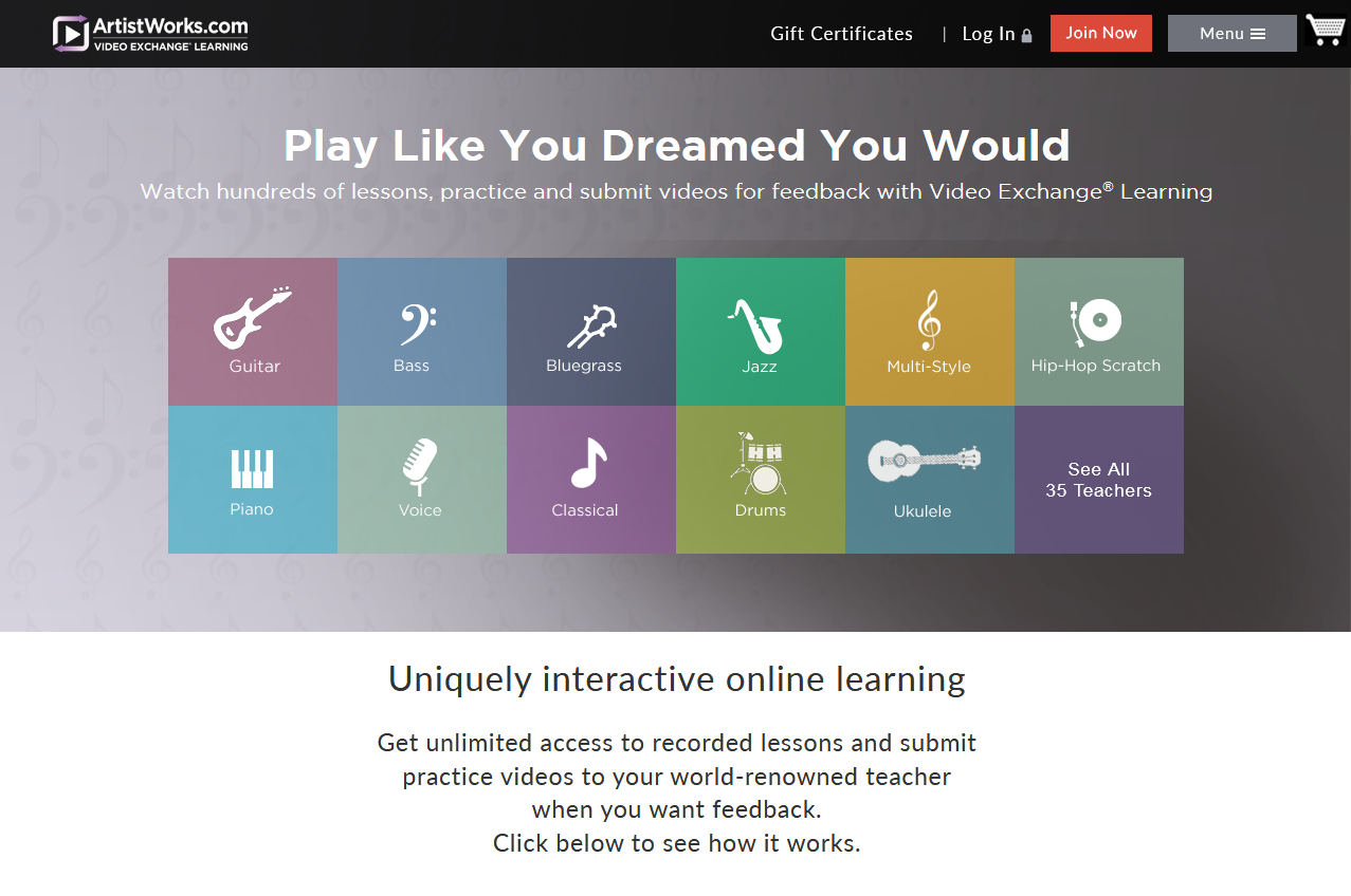 23 Best Online Guitar Lessons Beginners To Advanced Chalk How Read Chord Diagrams Traveling Artistworks Homepage Screengrab For Roundup