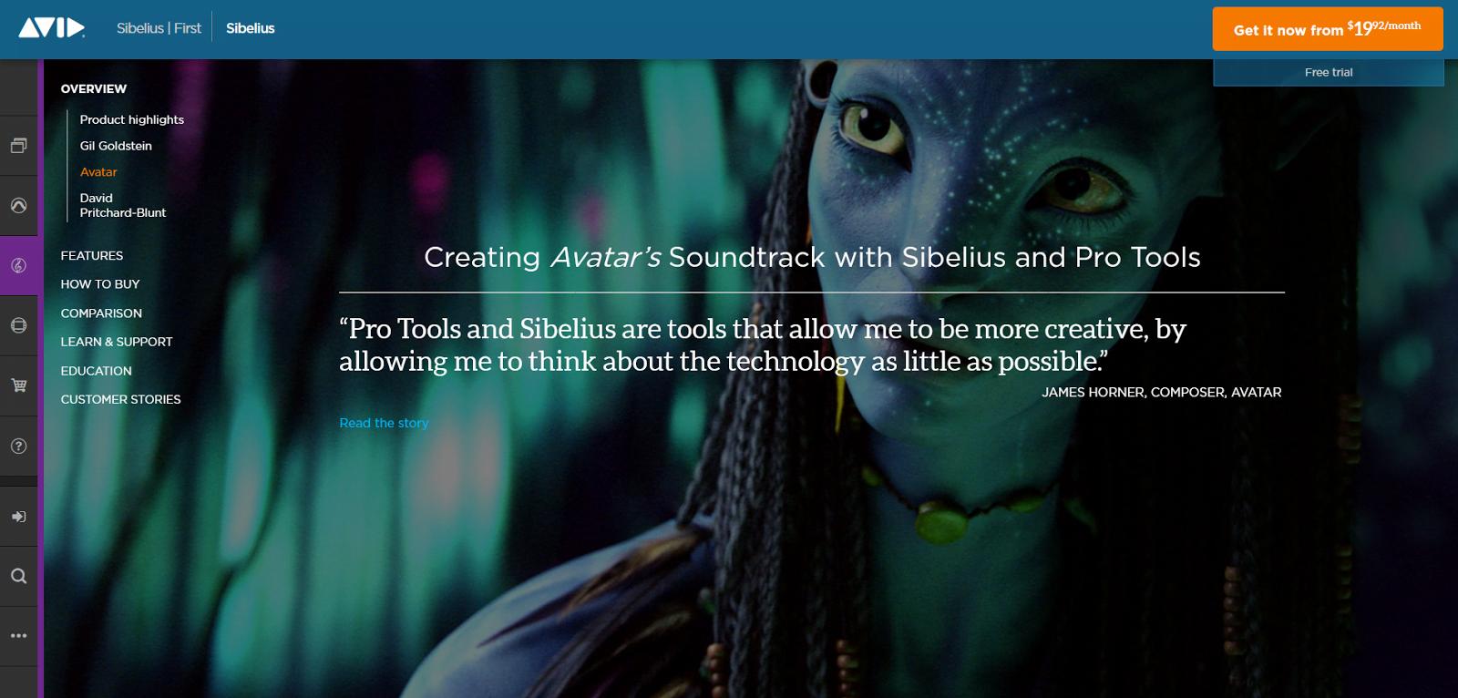 Avid Sibelius Software Home Page Avatar Screen Grab