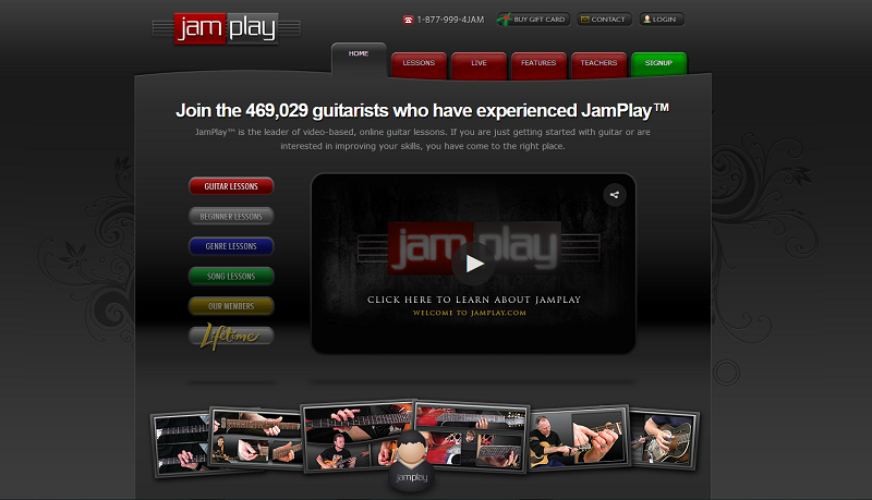 JamPlay Homepage Screengrab for Online Lessons Roundup