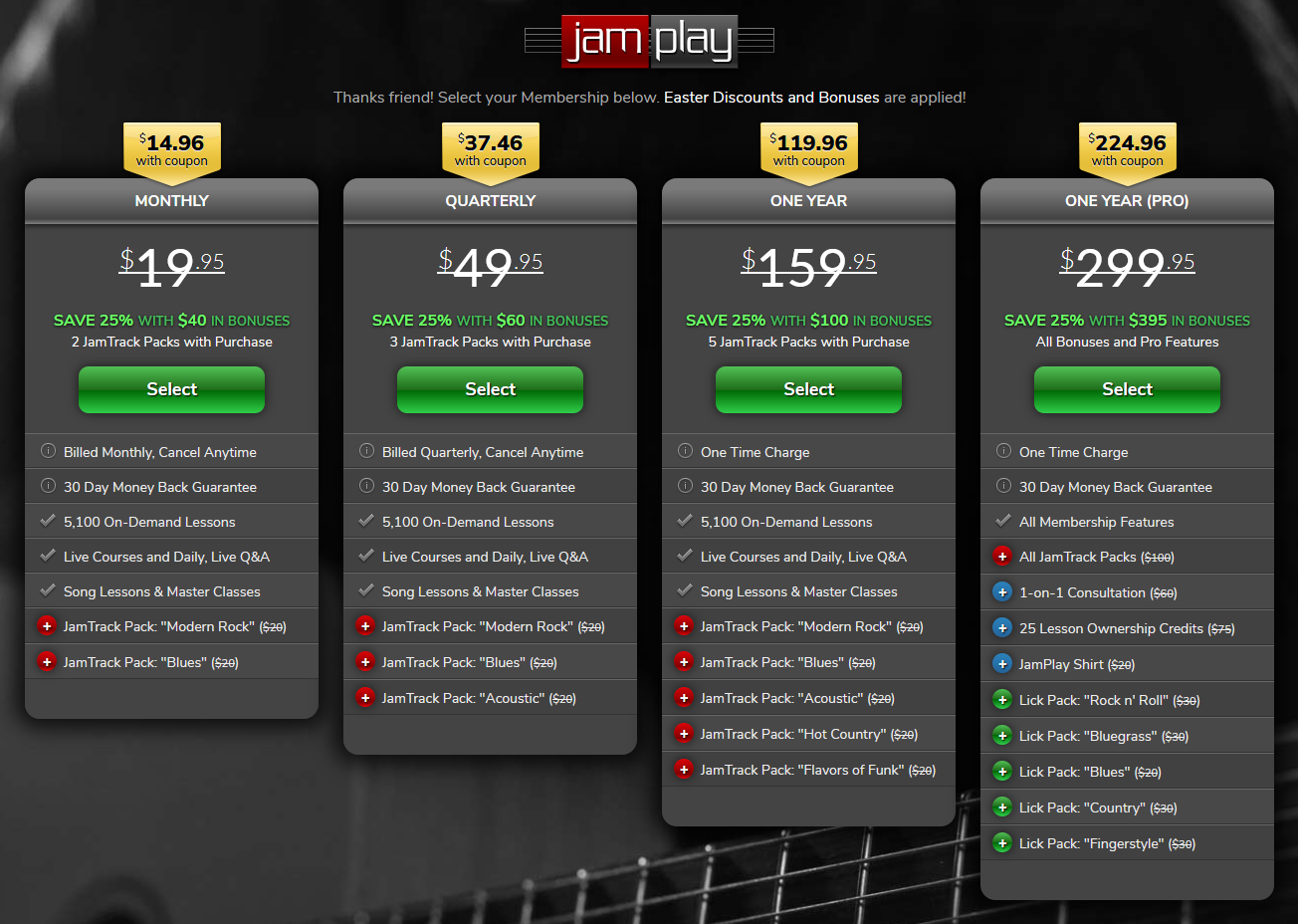 JamPlay Pricing Screengrab for Online Guitar Lessons Article