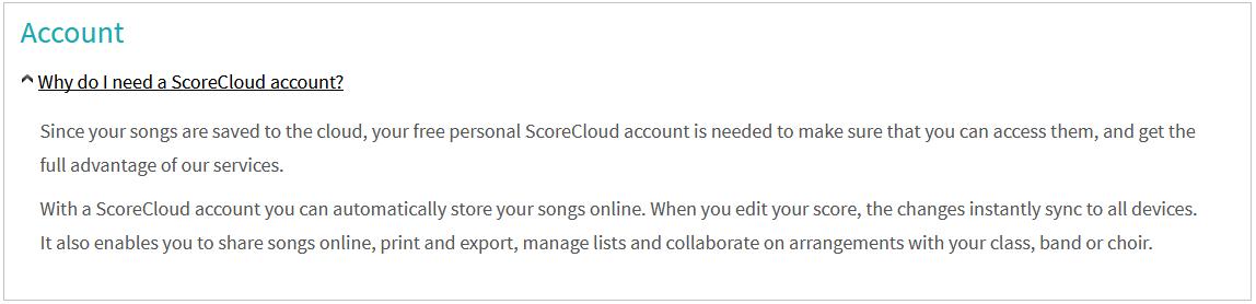 ScoreCloud Accout Question