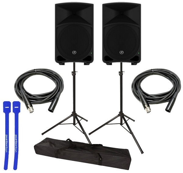 Portable PA System Speaker Options with Stands, Cables and Case