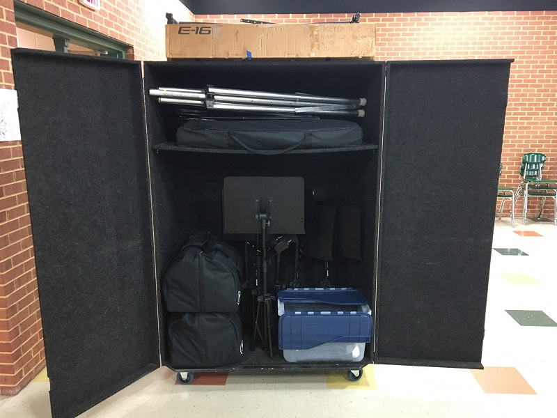 Portable PA System Wheeled Closet
