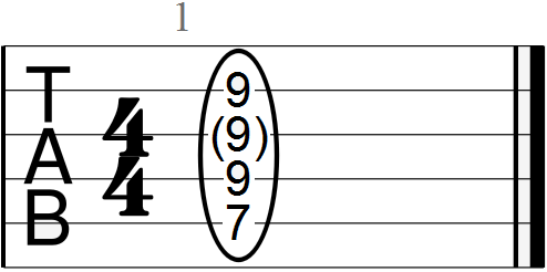 E Chord with Root, Fifth and Major Third (seventh fret position)