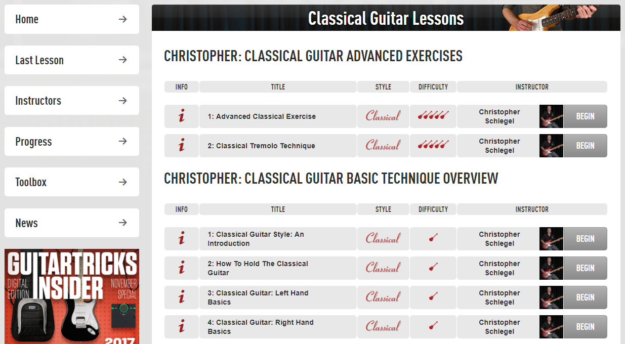 Classical Guitar Course at Guitar Tricks