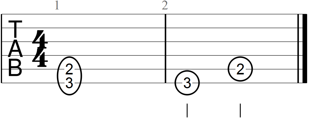 Dyadic G with a Major Third at the Third Fret Position (guitar tab)