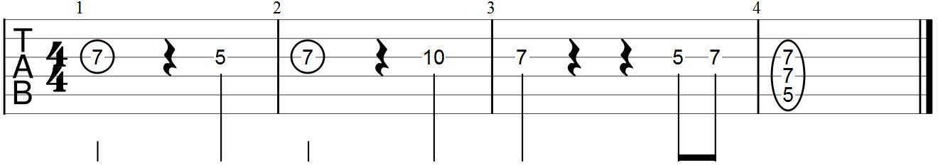 Guitar Tab Example (D Minor Melody)