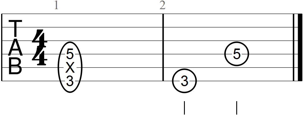 Octave Dyad Guitar Tab in the Key of G