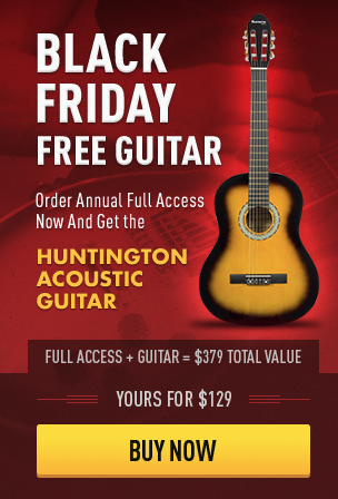 Example of a Black Friday ad by Guitar Tricks