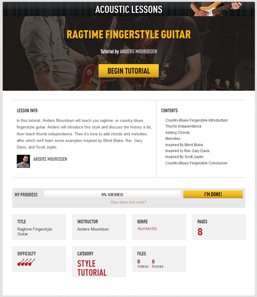 Acoustic Fingerstyle Lessons in Guitar Tricks
