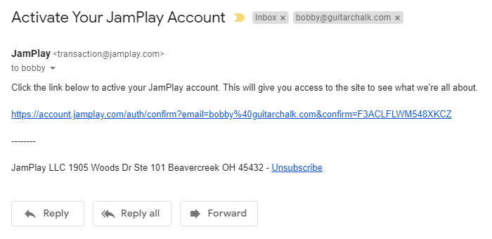 Activate JamPlay Account Email