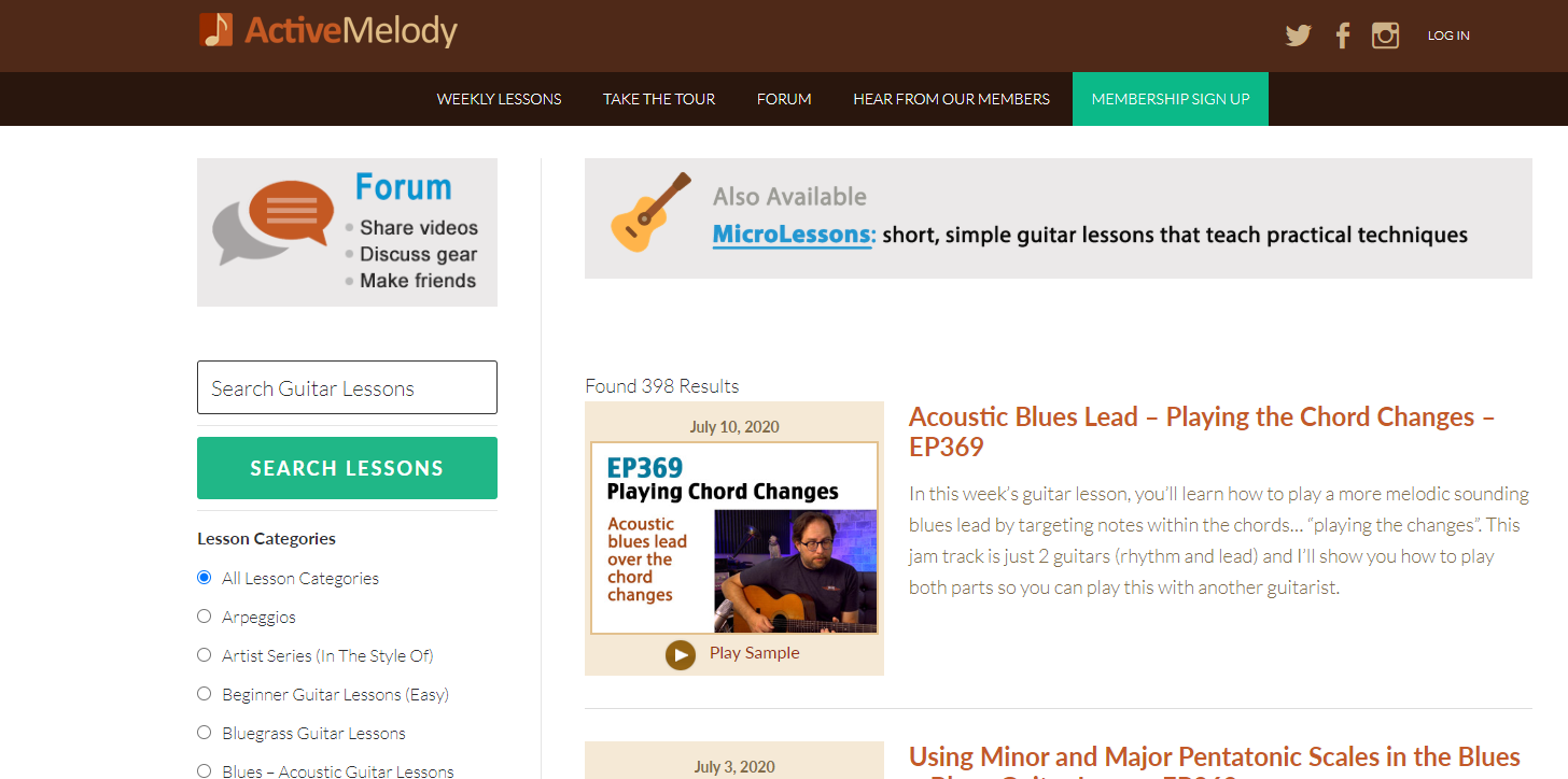 Active Melody Lessons Page