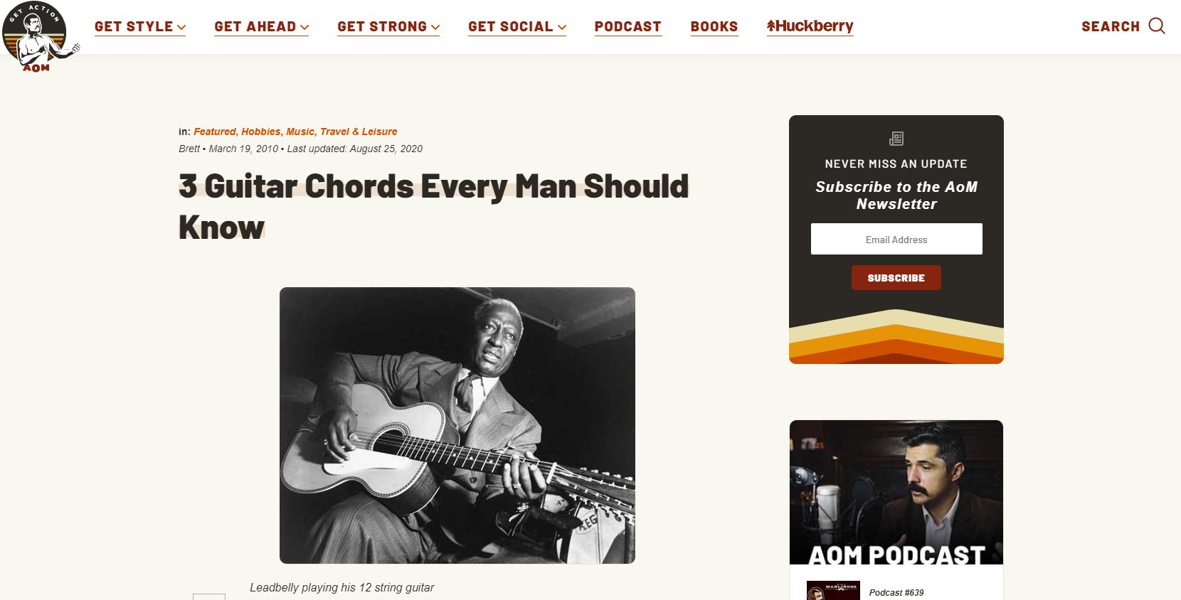 Art of Manliness Guitar Chords Article