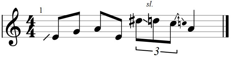 Blues Lick Example Guitar Notation
