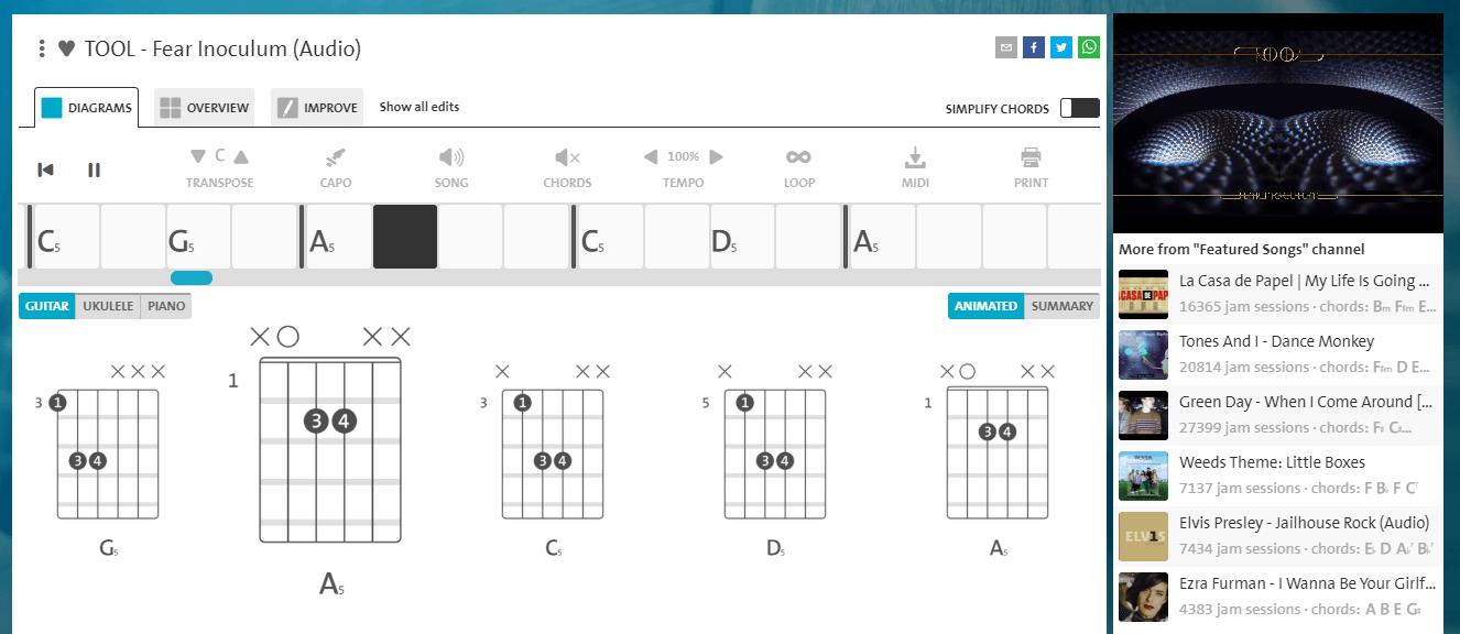Chordify Screen Grab (Tool Song)