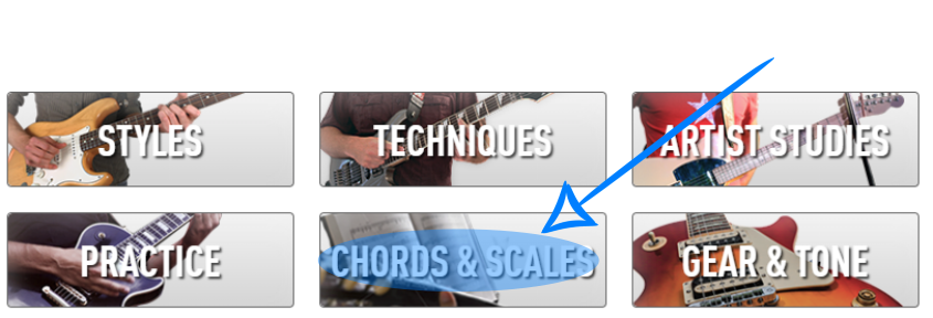 Chords and Scales Section in Guitar Tricks