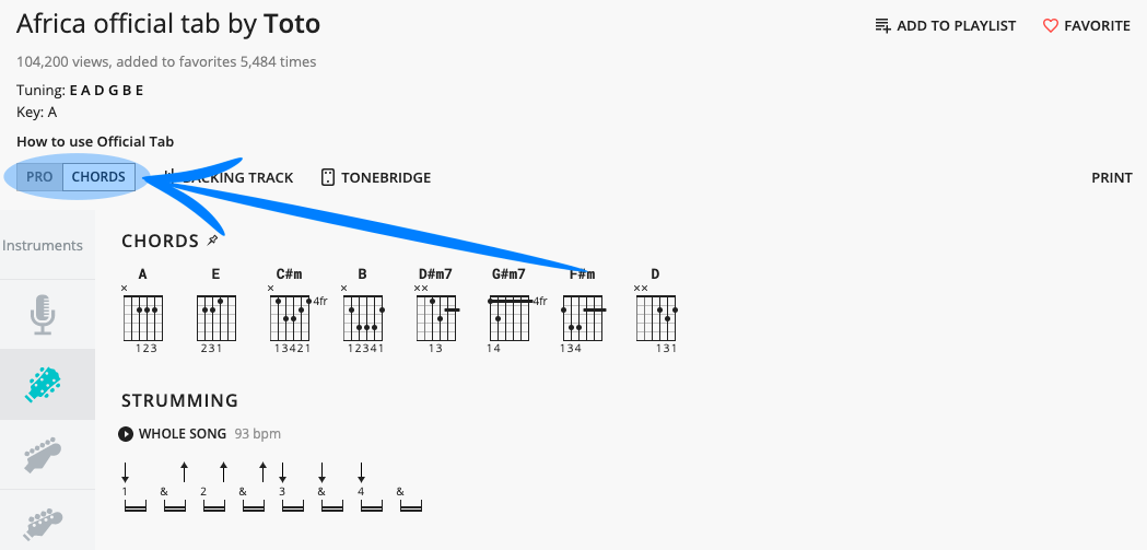 Chords and Tabs Toggle in UG Pro
