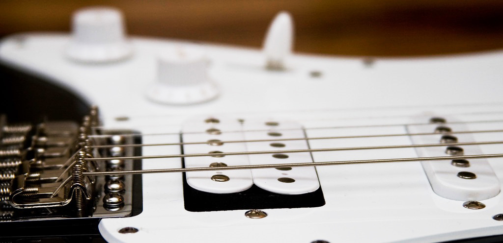 Closeup Shot of a Humbucker on an HSS Stratocaster