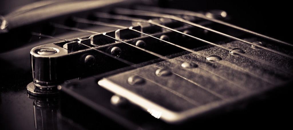 Closeup of Guitar Humbuckers