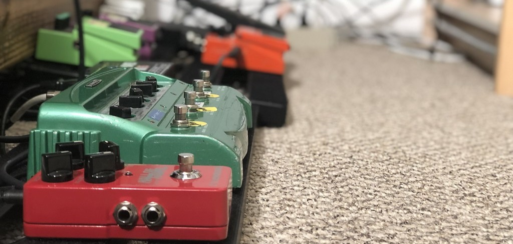 Delay Pedal with Reverse - Pictured on a Pedalboard