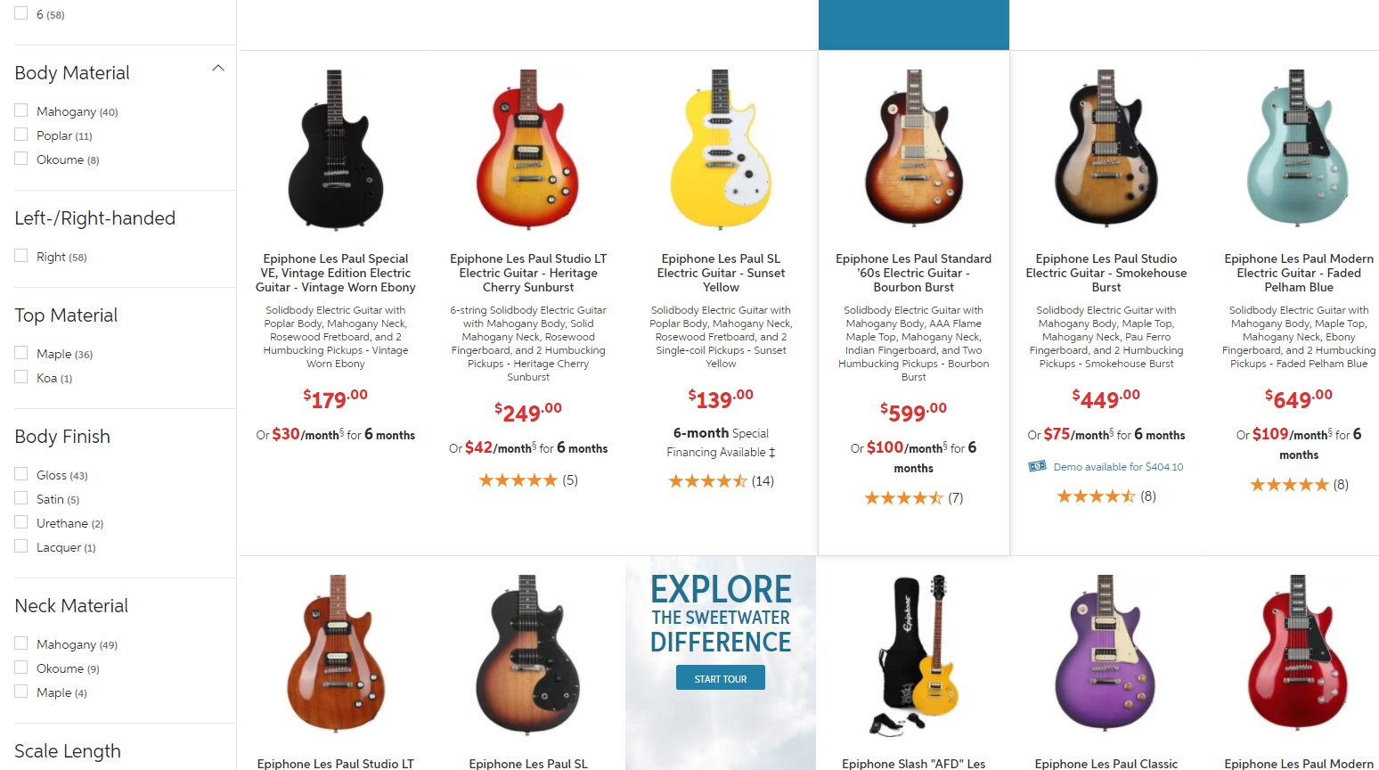 Different Epiphone Les Paul Models