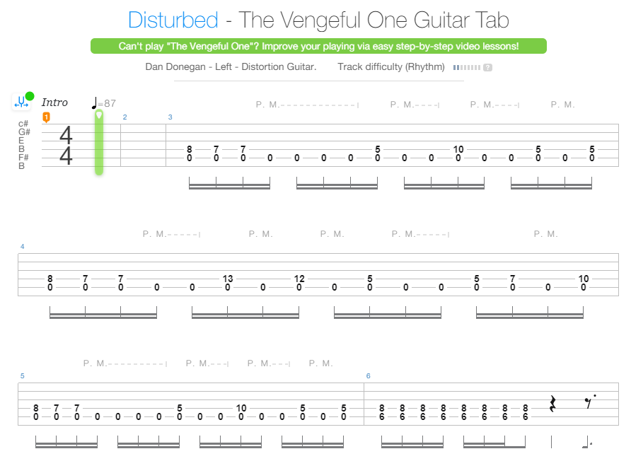 Disturbed Vengeful One Guitar Tab Example - Songsterr