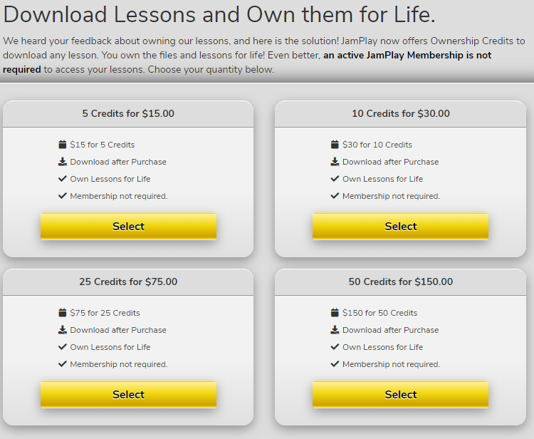 Download Lesson Credits on JamPlay