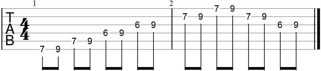 E Pentatonic Scale Exericse with Eighth Notes (full form)