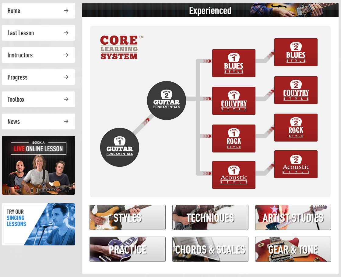 Experienced Section of the Core Learning System in Guitar Tricks