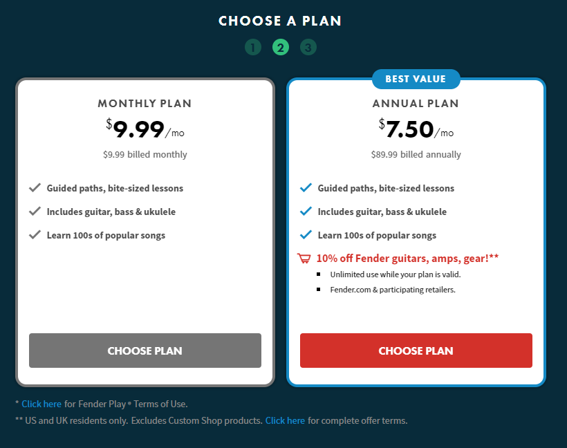 Fender Play Cost and Pricing Page