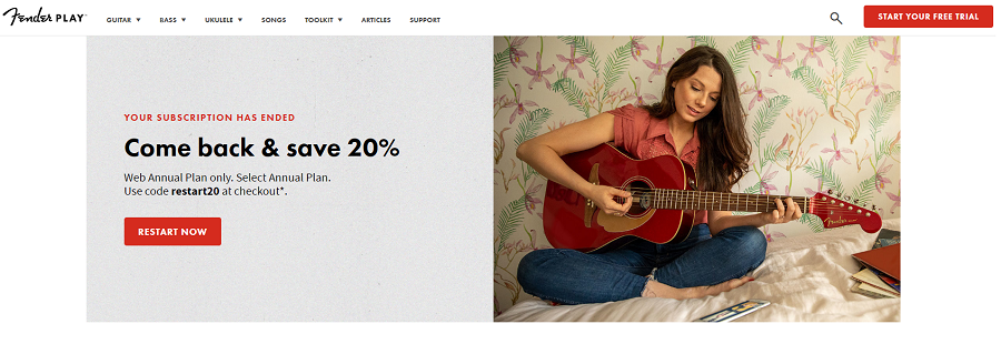 Fender Play Home Page Screenshot (resized)