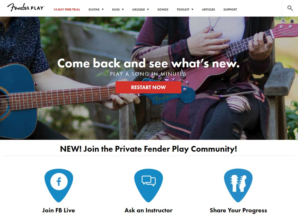 Fender Play Home Page
