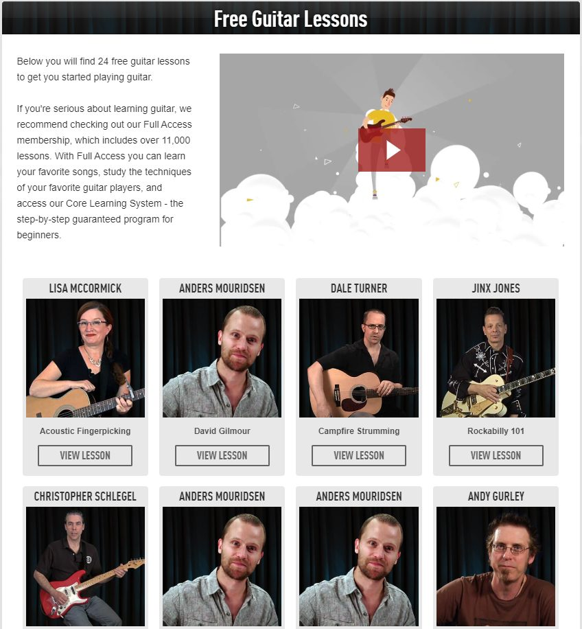 Free Guitar Lessons Section in Guitar Tricks